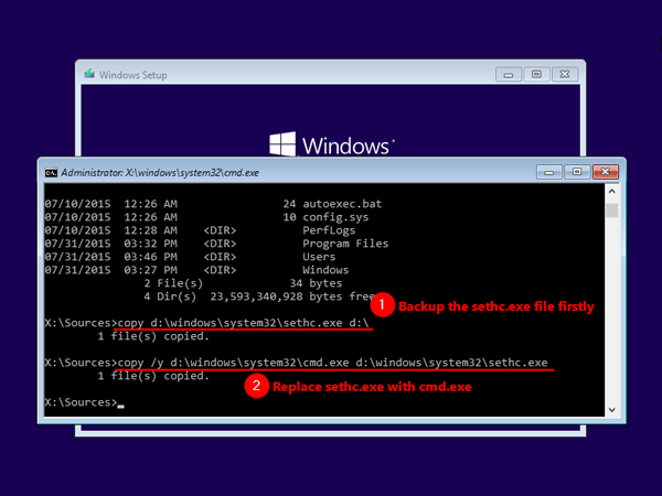How to reset windows 10 via command prompt